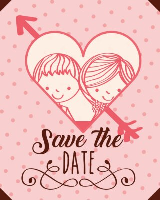 wedding couple in heart love save the date vector illustration
