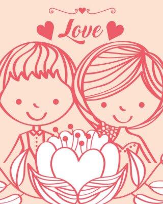 wedding cute bride and groom flower hearts card vector illustration