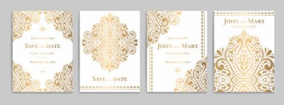 Poster Wedding invitation card with luxury gold pattern design on a white background. Vintage ornament template. Can be used for flyer, wallpaper, packaging or any desired idea. Elegant vector elements.
