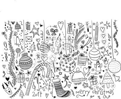 Poster Weihnachten Doodle Handgezeichnet