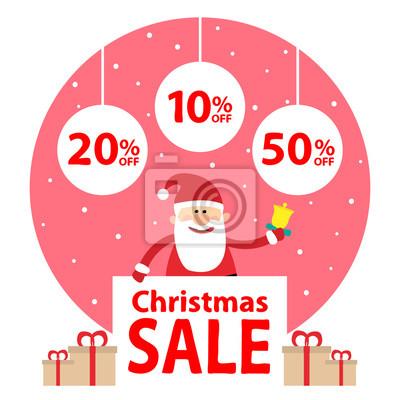 Poster Weihnachten sale.santa claus mit Banner und Weihnachtskugeln und Geschenk-Boxen