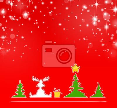 Weihnachten schnee elch bäume wandposter • poster Winterlandschaft ...