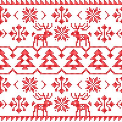Poster Weihnachten und Winter gestrickt nahtlose Muster