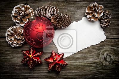 Weihnachts-Grußkarte auf Holzplatte