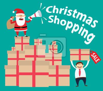 Poster Weihnachtseinkauf. Santa claus mit megaphon und geschenk boxen.man holding geschenk box