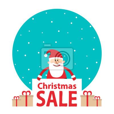 Poster Weihnachtsmann mit Fahne und Geschenk boxes.christmas Verkauf