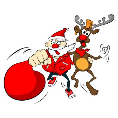 Weihnachtsmann Rentier Getrennt Vektor Cartoon Abbildung