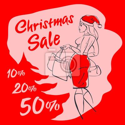 Poster Weihnachtsverkauf. Einkaufenfrau im Sankt-Hut mit Einkaufstasche. Weihnachtseinkauf