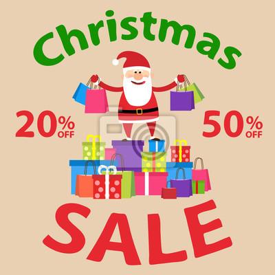 Poster Weihnachtsverkauf. Santa claus mit einkaufstaschen und kauf und geschenkboxen