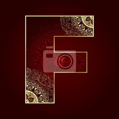 Weinlese-Alphabet mit floralen wirbelt, Buchstabe F