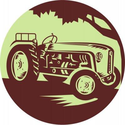 Poster Weinlese-Bauernhof-Traktor-Kreis-Holzschnitt