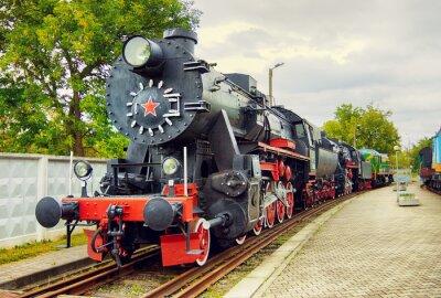 Poster Weinlese-Dampflokomotive