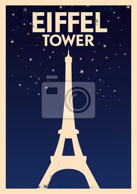 Weinlese-Eiffelturm Poster