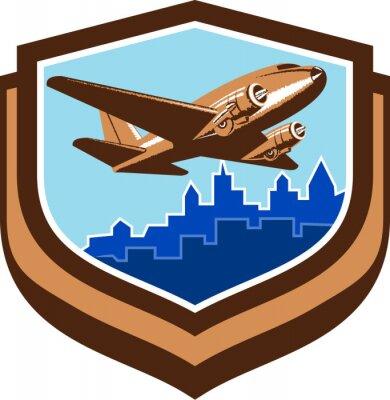 Poster Weinlese-Flugzeug entfernen Stadtbild-Schild Retro