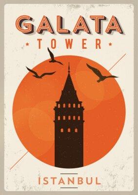 Weinlese-Galata-Turm Istanbul Poster