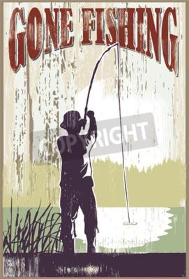 Poster Weinlese gegangenes Fischenzeichen. Man Fischerei am See.