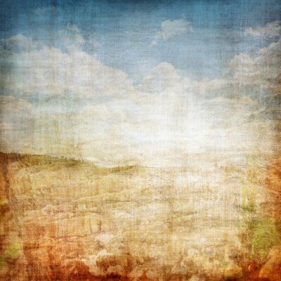 Poster Weinlese-Gewebe-Hintergrund-Landschaft