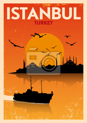 Weinlese Istanbul Silhouette Poster