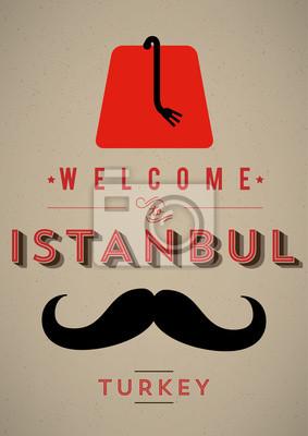 Weinlese Istanbul Willkommen Poster