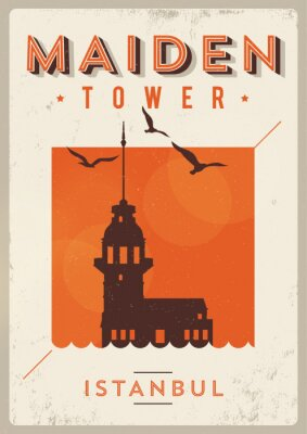 Weinlese-Maiden Tower Istanbul Poster