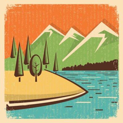 Poster Weinlese-Natur, Berge, Landschaft