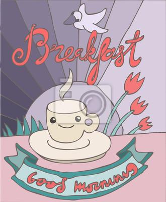 Weinlese-Plakat Frühstück, Vektor-Illustration, Hand gezeichnet