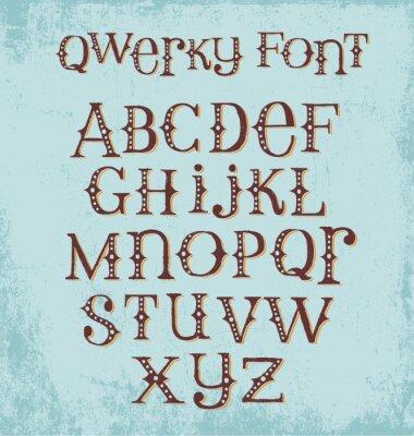 Poster Weinlese schrullige Hand gezeichnete Schriftart mit gemischten Groß- und Kleinbuchstaben