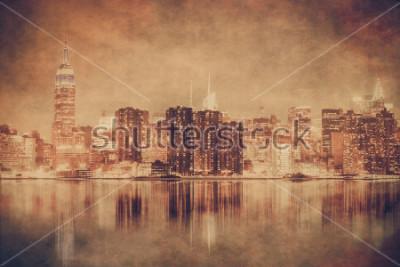 Poster Weinleseart New York City-Skyline von Manhattan mit Schmutzbeschaffenheit