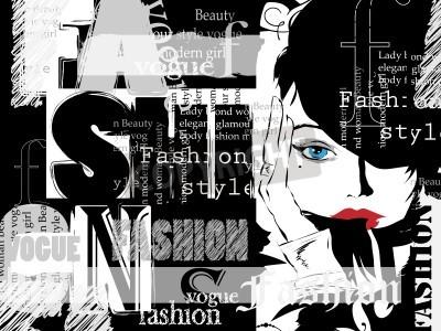 Poster Weinleseart und weisehintergrund. Buchstaben, Worte und stilvolle Mädchen