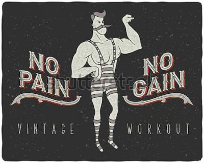 Poster Weinleseplakat mit zirkusstarkem Mann und Slogan: