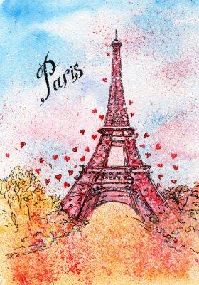 Poster Weinlesepostkarte. Aquarellabbildung. Paris, Frankreich, Eiffelturm