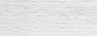 Poster Weiß gemalter alter Backsteinmauerpanoramahintergrund