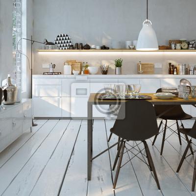 Gut gemocht Weiße küche in altbau wohnung - modernen weißen küche wandposter HG34