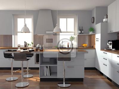 Holzfußboden In Der Küche ~ Weiße küche mit holzboden wandposter u poster innenräume high