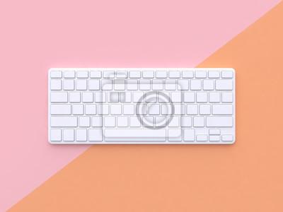 Poster weiße Tastatur rosa orange Hintergrund 3D-Rendering