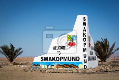 Welcome sign in Swakopmund, Namibia, Africa