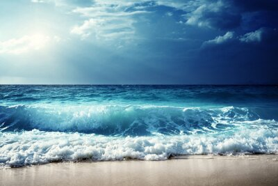 Poster Wellen auf Seychellen Strand