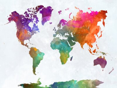 Weltkarte im Aquarell
