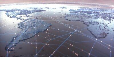 Poster Weltkarte mit Satellitendatenverbindungen. Konnektivität auf der ganzen Welt.