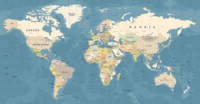 Poster Weltkarte Vektor. Detaillierte Darstellung der Weltkarte