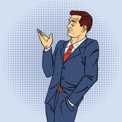 Poster Werbung Mann in Pop Art Style Pointing Hand auf Ihr Produkt