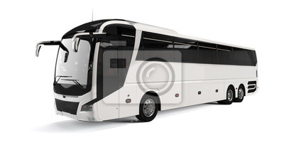 Poster White big tour bus front left angle view