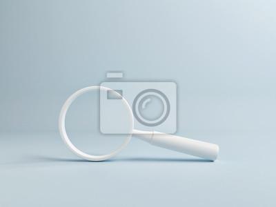 Poster White Magnify on Blue Background, Copy Space, 3d render, 3d illustration