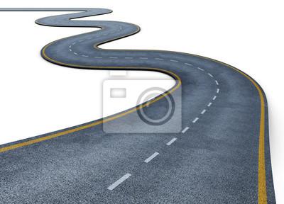 Poster Wicklung Straße isoliert auf weißem Hintergrund. Verschwindet in die Ferne. Die zweispurige Straße mit Fahrbahnmarkierungen. Konzeptionelle Bild. 3d darstellung