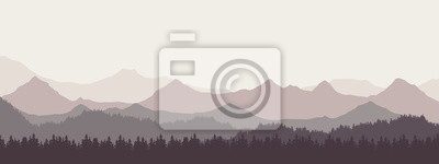 Poster Widescreen realistic illustration of mountain landscape with forest and hills under retro gray sky and fog, vector suitable as banner