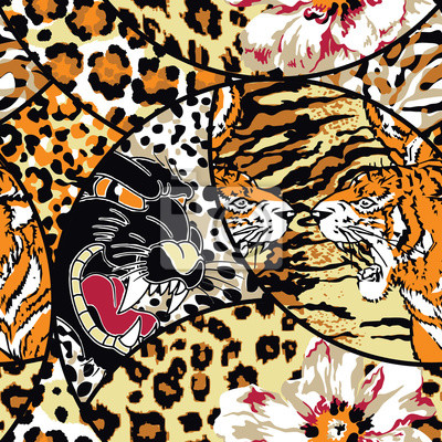Wild animal flower and skins abstract patchwork wallpaper seamless vector pattern