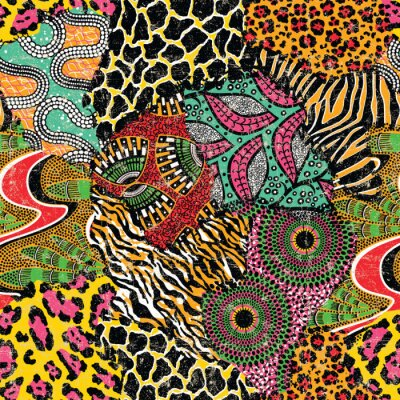 Wild animal skins and traditional african fabric patchwork wallpaper abstract vector seamless pattern