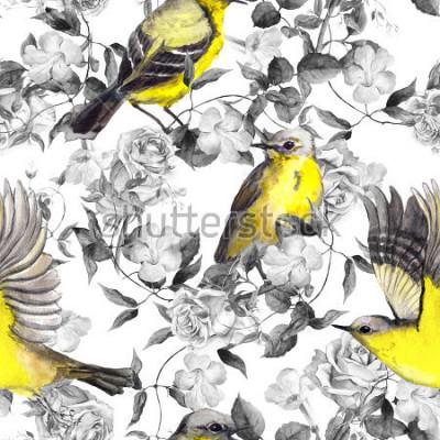 Poster Wilde Wiesenblumen und Vögel. Aquarell. Neutrales nahtloses Muster in den einfarbigen Schwarzweiss-Farben mit hellen Vögeln