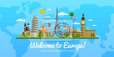 Poster Willkommen in Europa, Reisen auf der Welt-Konzept, reisen flach Vektor-Illustration.