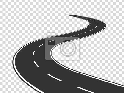Poster Winding road. Journey traffic curved highway. Road to horizon in perspective. Winding asphalt empty line isolated vector concept